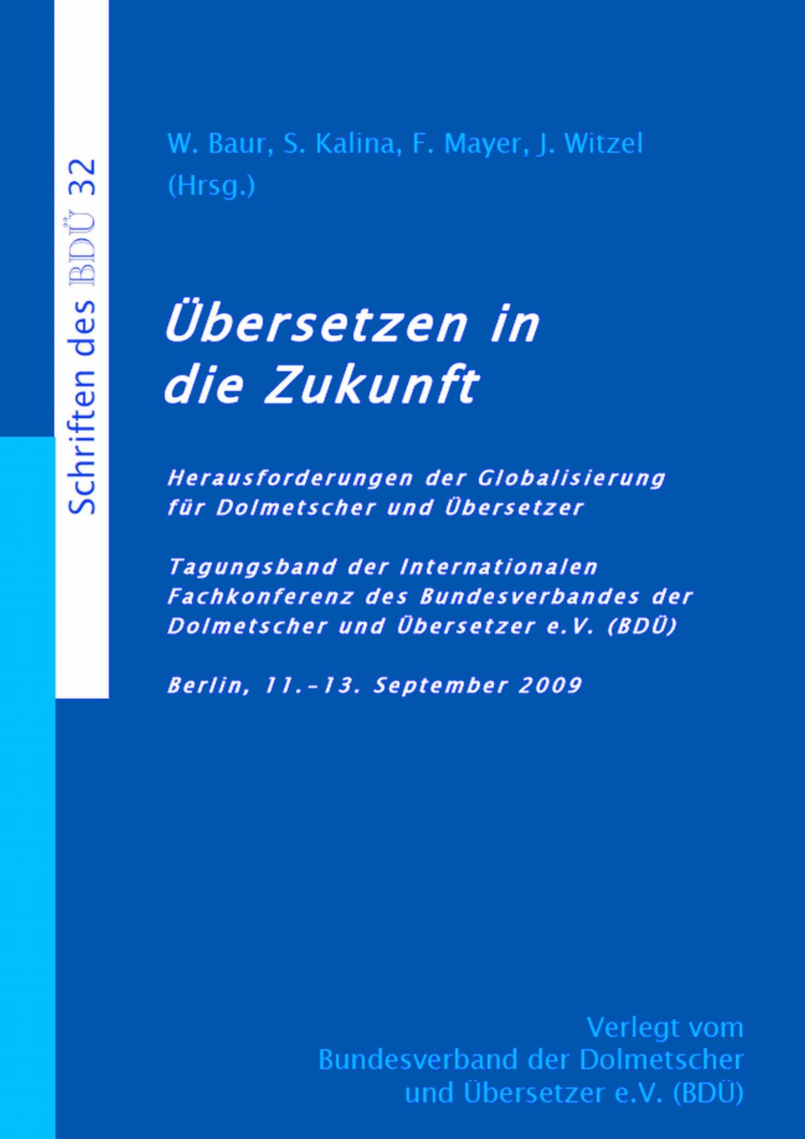 Tagungsband - Übersetzen in die Zukunft 2009